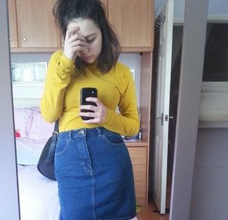 bag skirt blue denim vintage skirt fitted skirt blue denim skirt blue skirt denim skirt