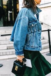le fashion image,blogger,jacket,bag,skirt,denim jacket,green skirt,black bag,fall outfits