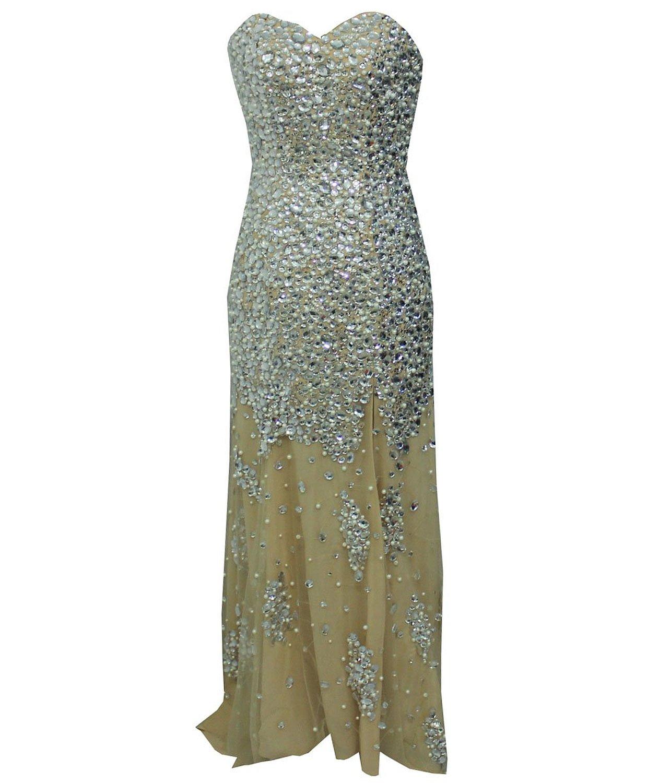 Staychicfashion sparkly rhinestone pearls beaded strapless mermaid dress nude