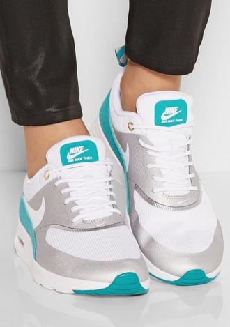 shoes nike air max thea metallic white green