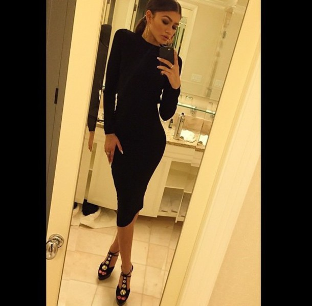 dress black dress zendaya bodycon black instagram zendaya cute dress and boots