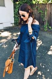 lefashion,blogger,sunglasses,dress,bag,off the shoulder,off the shoulder dress,denim dress,long sleeve dress,mini dress,mini bag,brown bag,aviator sunglasses