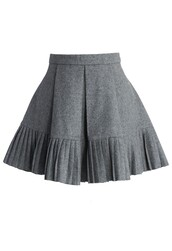 chicwish,wool blend skirt,mini pleated skirt