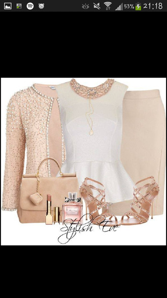 blouse peplum top peplum jacket embellished top embellished jacket cream high heels handbag