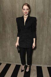 shoes,suit,blazer,black blazer,emma stone,pants,celebrity