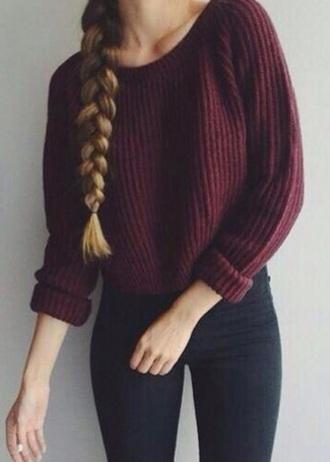 sweater knitted sweater knitwear burgundy instagram pinterest girl girly girly wishlist heavy knit jumper