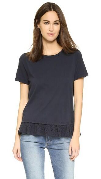 t-shirt shirt ruffle navy top