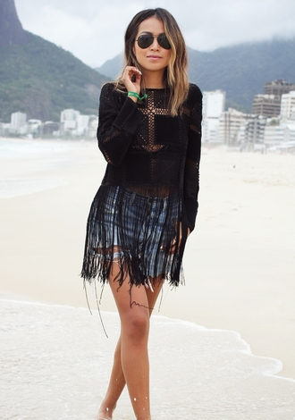 sincerely jules blogger top fringes beach ripped shorts
