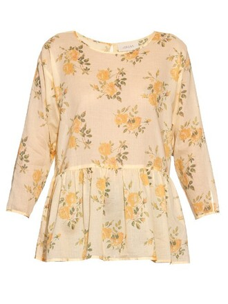 top floral cotton print yellow