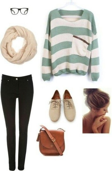 bag purse taupe cream mint oxfords messy bun infinity scarf nerd glasses sweater pocket sweater skinny jeans