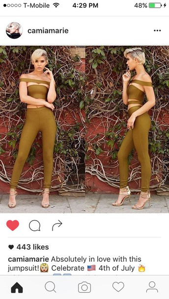 jumpsuit green green jumpsuit off the shoulder tight summer outfits party outfits clubwear classy cute girly edgy