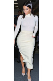 kim kardashian,skirt,t-shirt,shoes,long sleeves,white,shirt