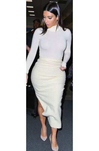 kim kardashian skirt t-shirt shoes long sleeves white shirt