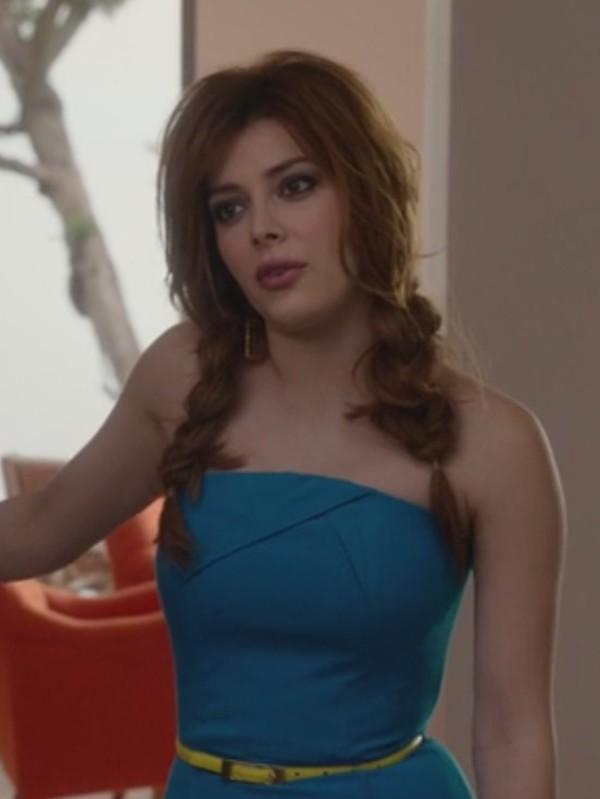 dress revenge strapless blue elena satine Louise Ellis belt skinny