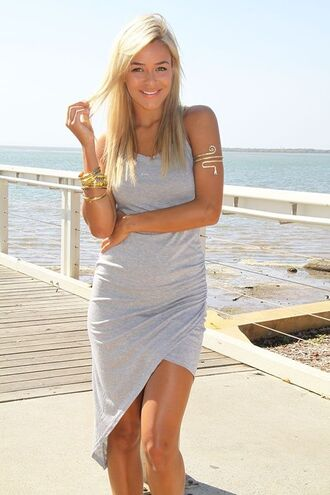 grey dress gray dress asymmetrical wrap dress jersey dress www.ustrendy.com