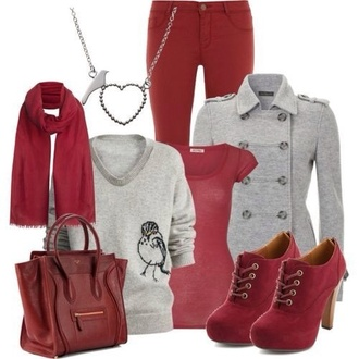 shoes red scarf coat jeans jewels bag