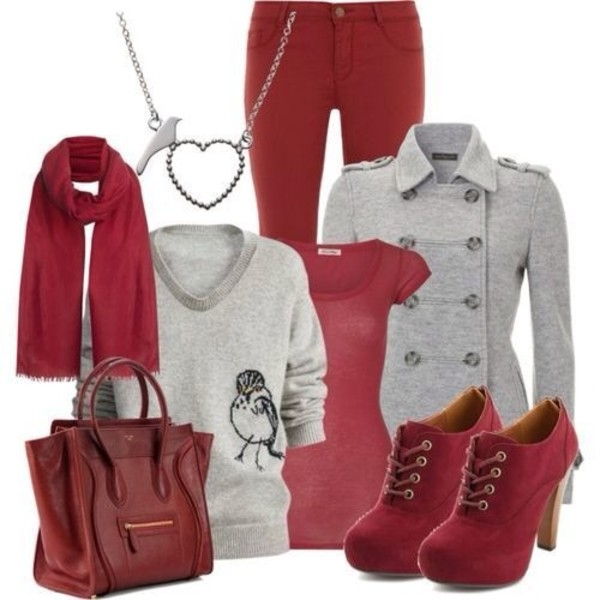 shoes red scarf coat jeans jewels bag red jeans
