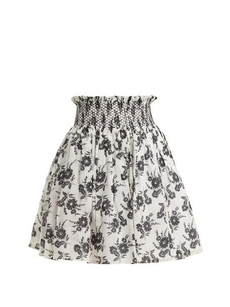 Miu Miu skirt mini skirt mini floral print white black