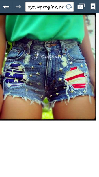 shorts american flag shorts denim hippie hipster american flag stars spring outfits High waisted shorts jeans studs