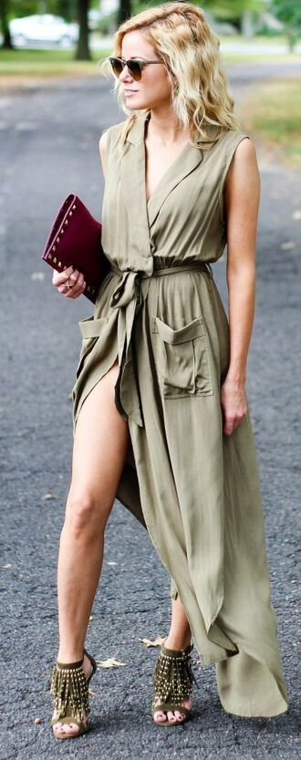 dress all military green outfit summer outfits green dress maxi dress summer dress slit dress sandals fringe shoes fringes sunglasses bag brown bag