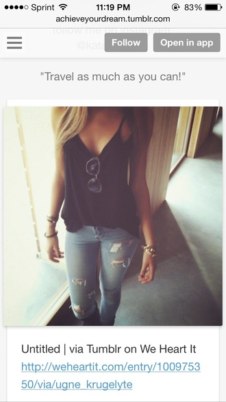 blouse shirt jeans ripped jeans