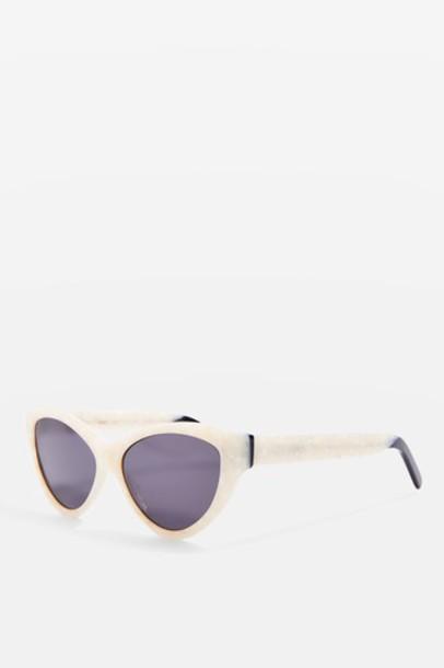 373b55c2f5c TopShop Handmade Premium Acetate Cat Eye Sunglasses - White - Wheretoget