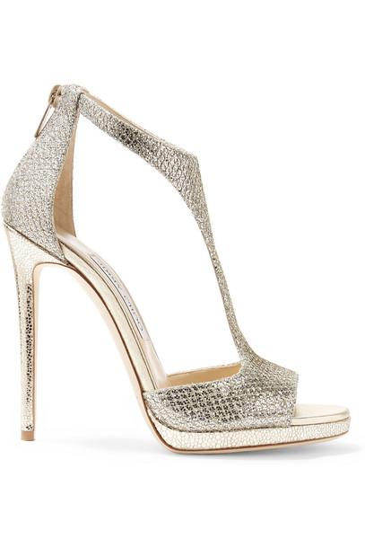 Jimmy Choo sandals metallic gold shoes