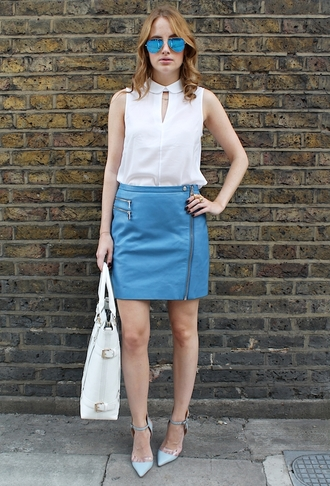 at fashion forte blogger top skirt sunglasses jewels bag shoes