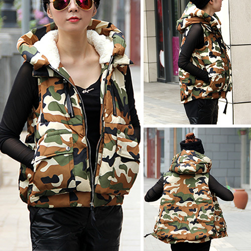 [grxjy562327]fashion camouflage print hooded down vest coat