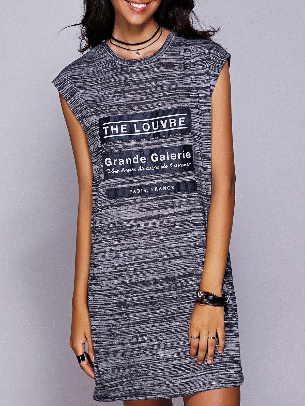 Casual Round Neck Applique Slit Dress For Women