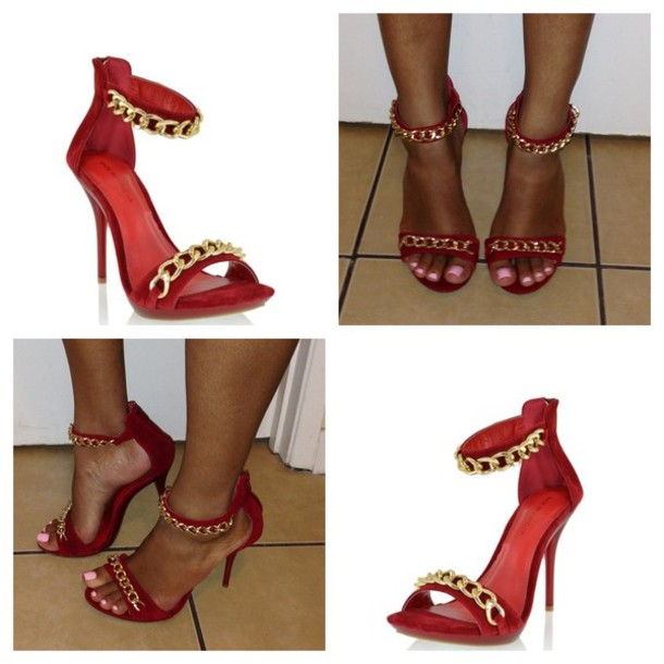 Shoes: red, gold, cocoskloset, heels, chain, gold chain - Wheretoget