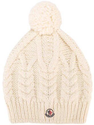knit women beanie white wool hat
