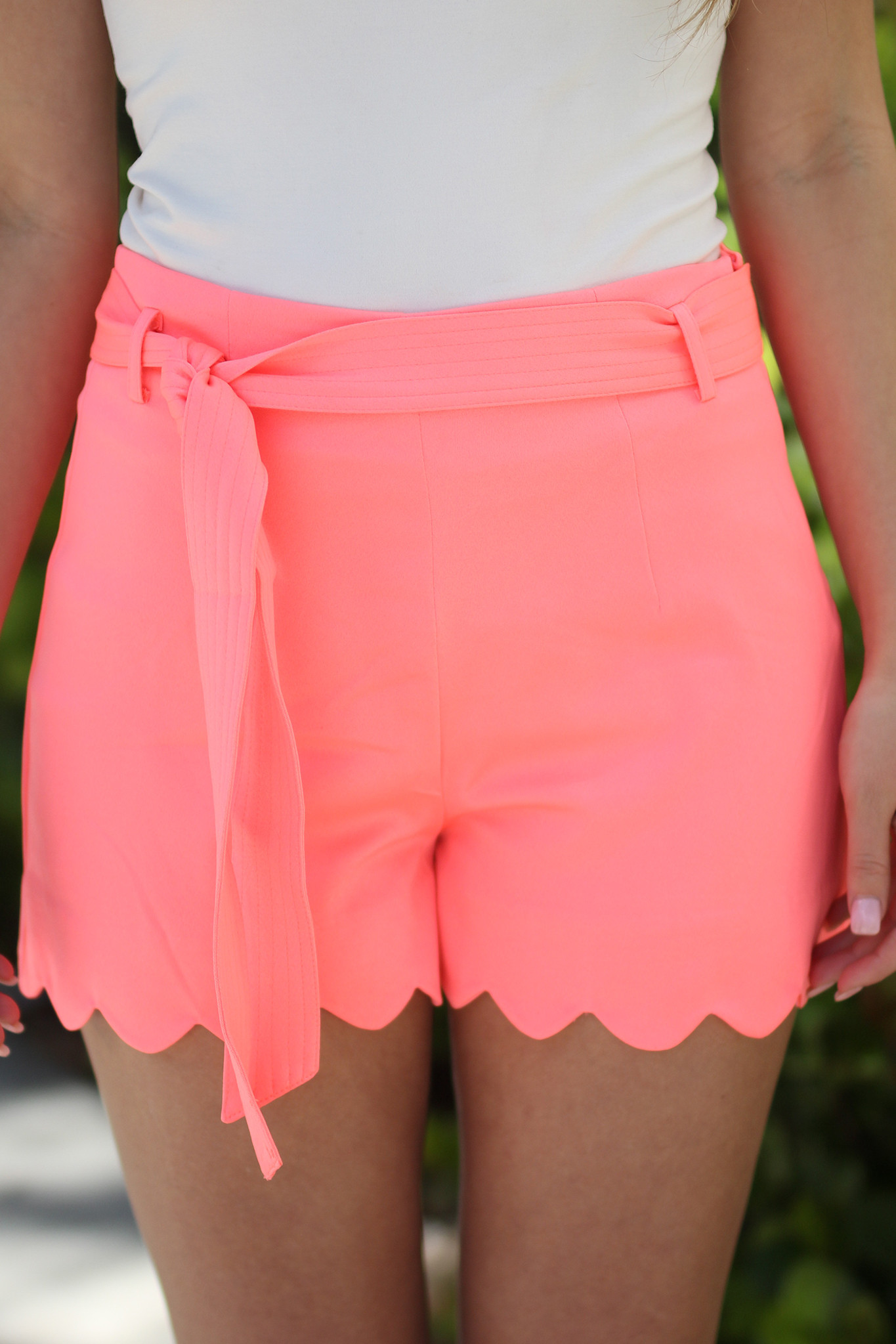 Coral Scalloped Shorts