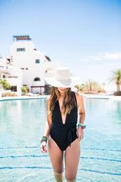 swimwear,tumblr,black swimwear,hat,sun hat,white hat,pool,one piece swimsuit,v neck,plunge v neck