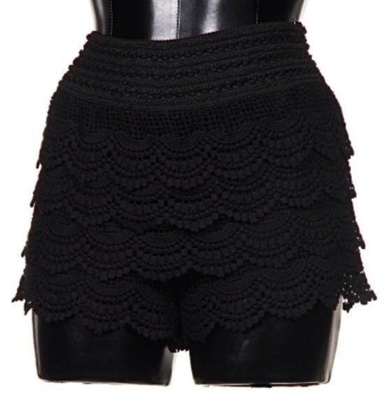 shorts lace shorts crochet shorts black lace shorts spring trends 2014 clothing boutique