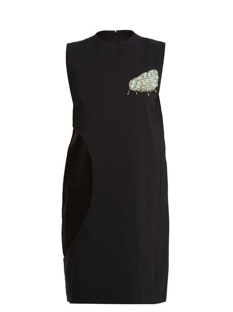 Toga dress sleeveless cut-out embellished navy
