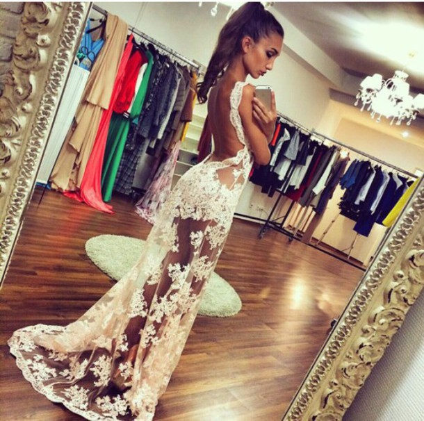 Dress: white, lace, backless, prom, formal, evening dress, long ...