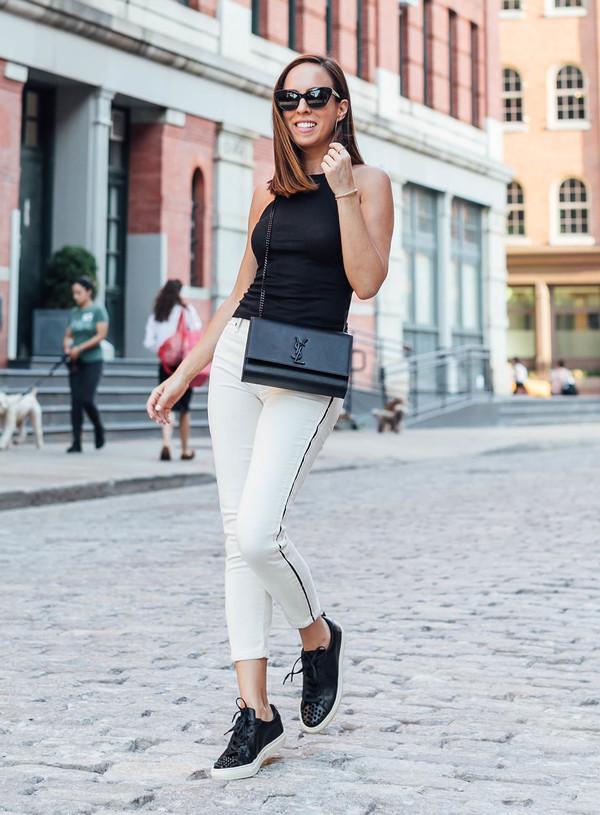 pants top white pants black top bag shoes sunglasses
