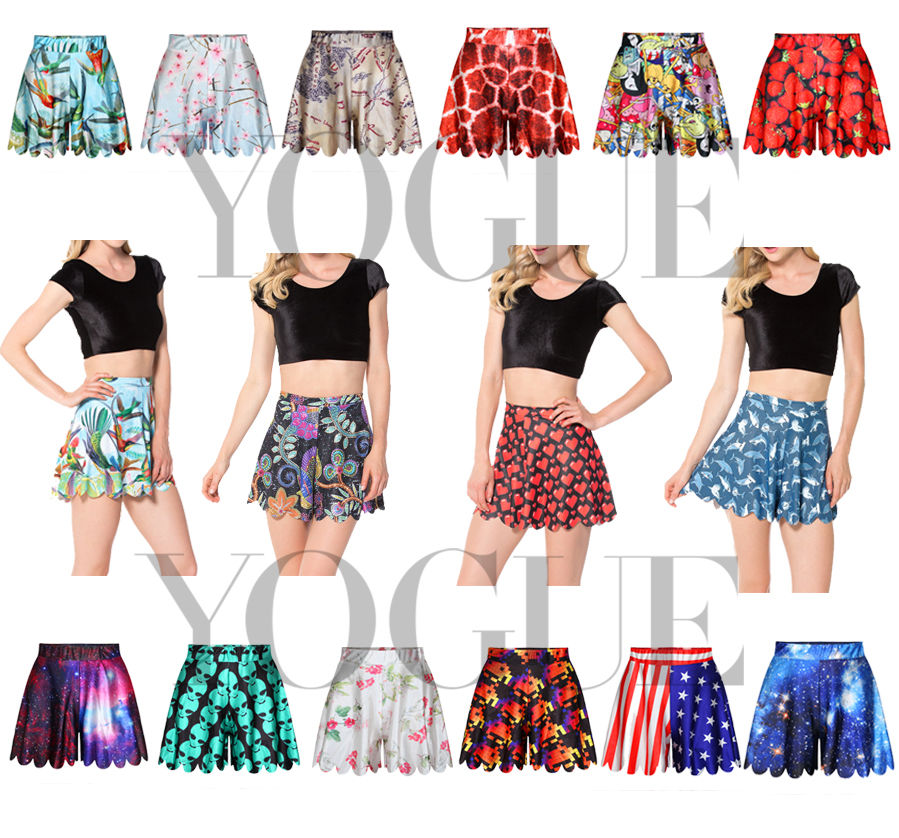 High Waist Shorts Floral Emoji Graphic Print Mini Flared Elastic ...