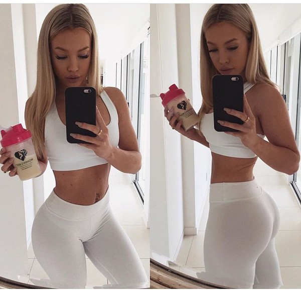 tights tammyhembrow white activewear set white tights matching set singlet crop white crop tops tammy hembrow