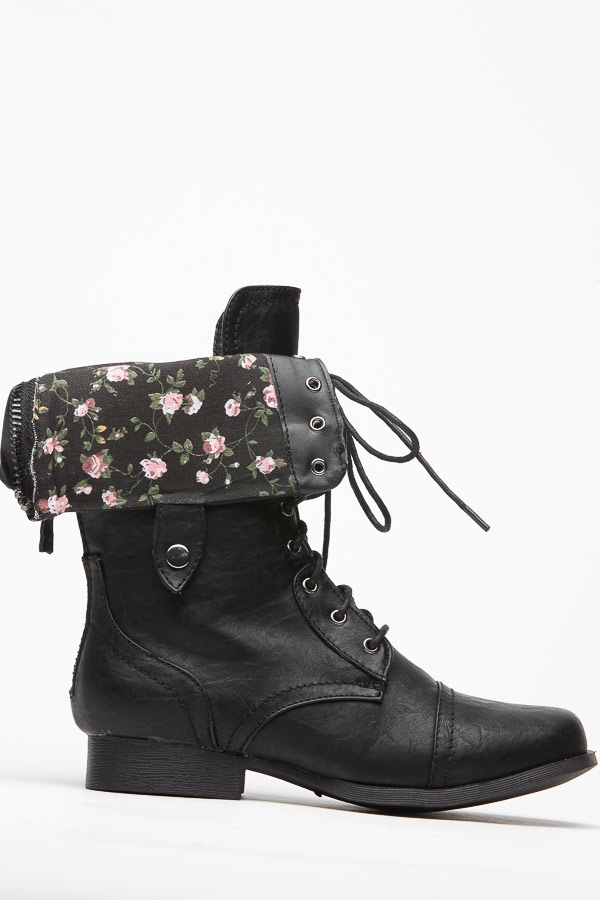 Wild diva floral fold over black combat boot @ cicihot boots catalog:women's winter boots,leather thigh high boots,black platform knee high boots,over the knee boots,go go boots,cowgirl boots,gladiator boots,womens dress boots,skirt boots.