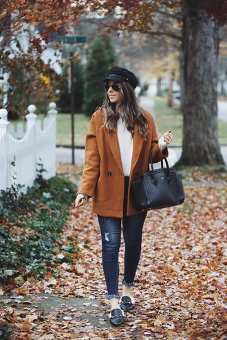 fashionably kay blogger coat shoes hat jewels fall outfits handbag loafers newsboy hat cabby hat fisherman cap cap black hat accessories accessory