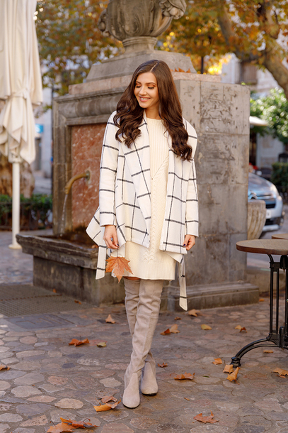 coat ch tumblr white coat checkered dress white dress midi dress knit knitwear knitted dress sweater dress boots grey boots