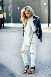 fanny lyckman,blogger,jeans,ripped jeans,leather jacket,perfecto,heels,jumper,jacket,sweater,knits,fall outfits,kintwear,grey,boyfriend jeans,blouse,light blue,slit,white sweater,grey sweater,black leather bomber jacket womens