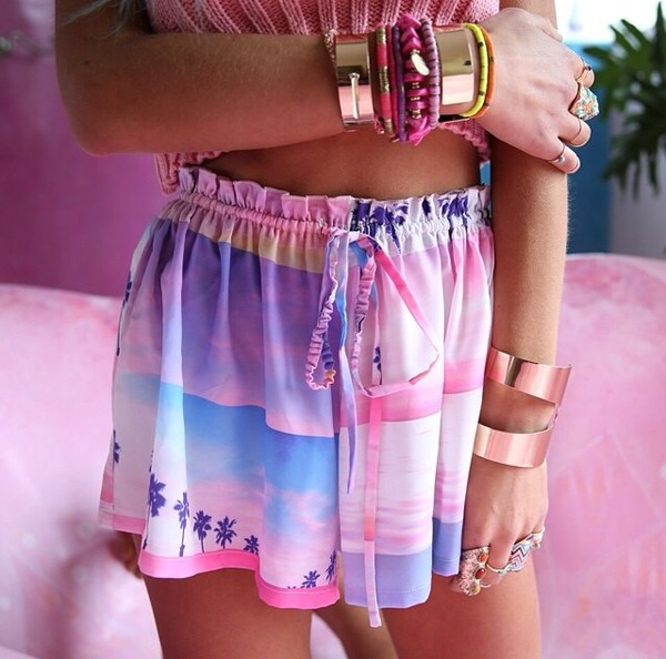 shorts jewels palm tree print sunset print dress