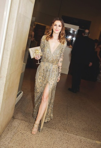 dress gold sequins leighton meester plunge v neck sequins sequin dress slit dress
