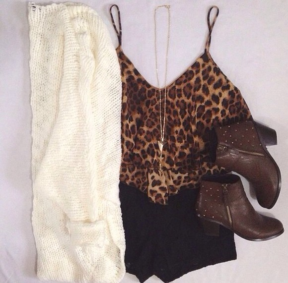 white cardigan shirt spaghetti strap leopard print leopard print shirt arrow necklace studded boots black studded boots