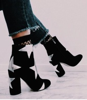 shoes,booties,black,silver,chunky heel