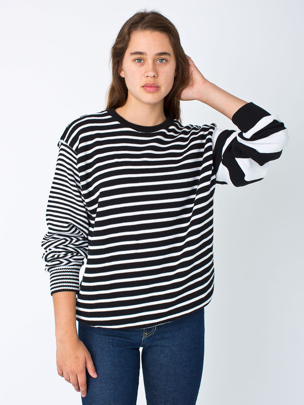 Unisex Recycled Cotton Mixed Stripe Pullover | American Apparel