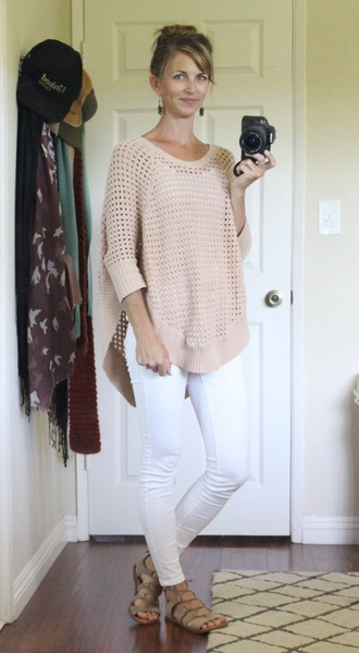 the pleated poppy blogger sweater shoes jewels tank top t-shirt mesh beige sweater white pants white jeans flats lace up flats
